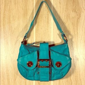 CHARLES DAVID Purse Turquoise Leather